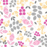 Abstract pink, yellow and gray leaves seamless Stock Images
