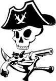 Abstract pirate symbol. With skull, sword and gun in vector format black and white Royalty Free Stock Image