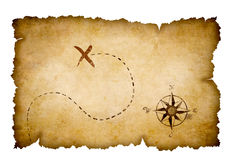 Abstract pirates old treasure map. With marked location Royalty Free Stock Photography