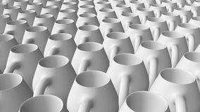 Abstract pitchers in rows in white stock footage