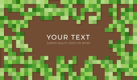 Abstract Pixel Background Illustration. Seamless Green And Brown Tiles Backgruond With Shadows. Stock Photography