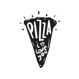 Abstract pizza slice with text. stock illustration