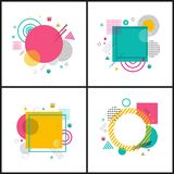 Abstract Placard Collection on Vector Illustration. Abstract placards collection with images of circles and triangles, squares and dots, geometric shapes on vector illustration