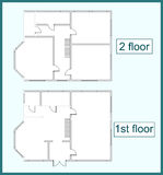 Abstract plan two storey house Stock Images