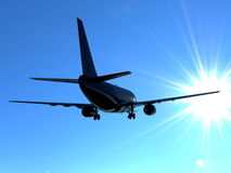 Abstract plane silhouette heading into the blue sky Stock Photography