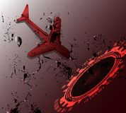 Abstract of plane and technology transport or traveling concept on dark red background Royalty Free Stock Photo