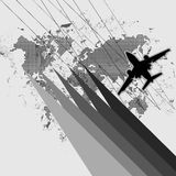 Abstract plane with world map. Abstrast style airplane and worldmap vector royalty free illustration