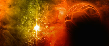 Abstract planet. Abstract red planet with shiny star Royalty Free Stock Photo