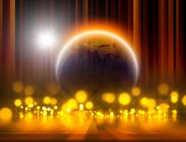Abstract planet. Abstract illustration of planet with yellow lights and star. Elements of this image furnished by NASA Royalty Free Stock Images