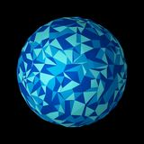Abstract planet earth. Blue technology sphere shape ball in digi. Tal computer technology concept isolated on black background, 3d pattern illustration royalty free illustration