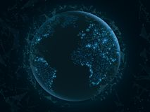Abstract planet Earth with flying triangles. World map. Blue lights. Sci-fi and hi-tech. Plexus style. Map of glowing dots. Vector. Illustration. EPS 10 vector illustration
