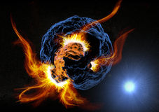 Abstract planet explosion in space. Glowing abstract planet explosion in space Royalty Free Stock Photography