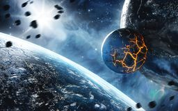 Abstract planet with huge cracks with lava in space. Elements of this image furnished by NASA. vector illustration