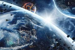 Abstract planet with huge cracks with lava in space. Elements of this image furnished by NASA. royalty free illustration