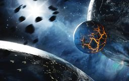 Abstract planet with huge cracks with lava in space. Elements of this image furnished by NASA. stock image
