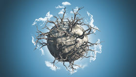 Abstract planet scene. 3D render of an abstract planet covered with dead trees in a space scene vector illustration