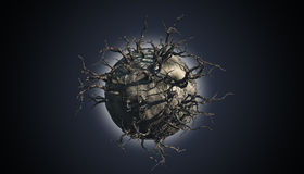 Abstract planet scene. 3D render of an abstract planet covered with dead trees in a space scene Stock Image