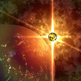 Abstract planet and sun Stock Photos
