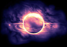 Abstract planetary ring via nebula cloud. Luminous light spots in space. Royalty Free Stock Photos