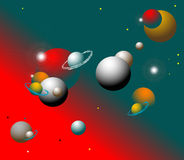 Abstract planets. Abstract colored background with stars and various planets orbiting in deep space Stock Photography