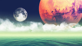 Abstract planets background stock illustration