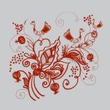 Аннотация завода с птицами. Птицы, ягоды, листья, завитки в абстрактную композицию. Площадь иллюстрации Stock Photos