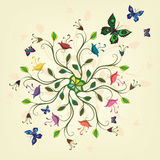Abstract plant with flowers and butterflies. Vector illustration Royalty Free Stock Images