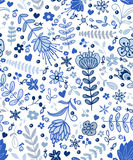 Abstract plants doodles pattern Stock Photos