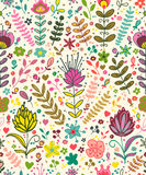Abstract plants doodles pattern Royalty Free Stock Image