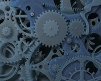 Abstract plastic clockwork. Closeup mechanism. 3d fantasy background. Stock Image