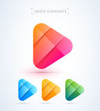Abstract play button logo template. Material design style Royalty Free Stock Photos