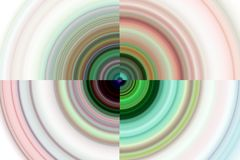 Abstract playful circles background in green pink colors. Abstract circular hypnotic playful background in phosphorescent, red, pink, gray and yellow hues Stock Image