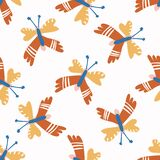 Abstract playful matisse style cut out butterfly shape pattern. Seamless modern simple collage style design for retro