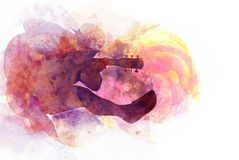 Abstract playing acoustic guitar watercolor painting background. Abstract beautiful man jumping play guitar in the foreground on Watercolor painting background stock illustration