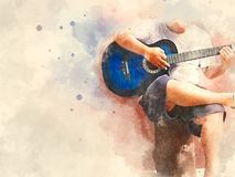 Abstract playing acoustic guitar watercolor painting background. Abstract beautiful playing acoustic Guitar in the foreground on Watercolor painting background stock photography