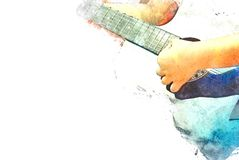 Abstract playing acoustic guitar watercolor painting background. Abstract beautiful playing acoustic Guitar in the foreground on Watercolor painting background vector illustration
