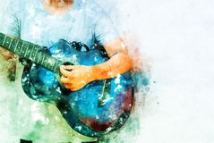 Abstract playing acoustic guitar watercolor painting background. Abstract beautiful playing acoustic Guitar in the foreground on Watercolor painting background royalty free illustration