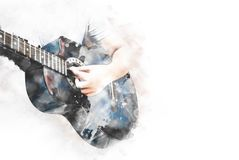 Abstract playing acoustic guitar watercolor painting background. Abstract beautiful playing acoustic Guitar in the foreground on Watercolor painting background royalty free stock photography