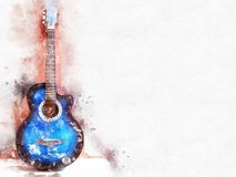 Abstract playing acoustic guitar watercolor painting background. Abstract beautiful acoustic guitar in the foreground on Watercolor painting background and stock illustration