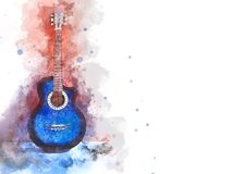 Abstract playing acoustic guitar watercolor painting background. Abstract beautiful acoustic guitar in the foreground on Watercolor painting background and royalty free stock photo