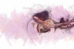 Abstract playing acoustic guitar watercolor painting background. Abstract beautiful playing Guitar in the foreground on Watercolor painting background and vector illustration