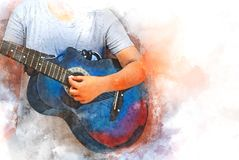 Abstract playing acoustic guitar watercolor painting background. Abstract beautiful playing acoustic Guitar in the foreground on Watercolor painting background stock illustration
