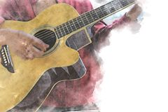 Abstract playing acoustic guitar watercolor painting background. Abstract beautiful acoustic guitar in the foreground on Watercolor painting background and vector illustration