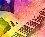 Abstract playing piano keyboard watercolor painting background. stock illustration