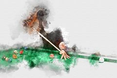 Abstract Playing Snooker On Colorful Watercolor. Royalty Free Stock Photo