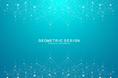 Abstract plexus background with connecting dots and lines. Wave flow. Plexus geometric effect Big data with compounds vector illustration