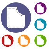 Abstract pocket icons set. In flat circle red, blue and green color for web Stock Illustration