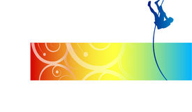 Abstract pole vaulter sign. Colorful abstract background with silhouetted pole vaulter in midair, white background Vector Illustration