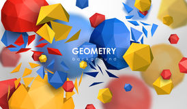 Abstract poligonal background. 3d render illustration. Geometric background with low-poly elements. Abstract poligonal background. 3d render illustration Stock Photos