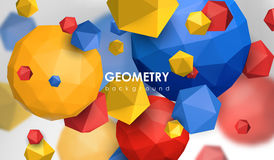 Abstract poligonal background. 3d render illustration. Geometric background with low-poly elements. Abstract poligonal background. 3d render illustration Stock Images